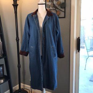 Vintage Denim Duster Trench Coat
